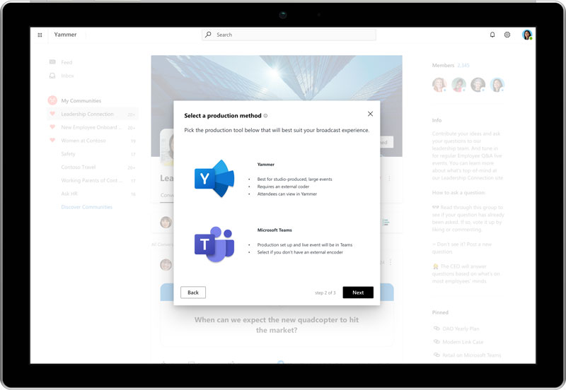 live events ms teams yammer